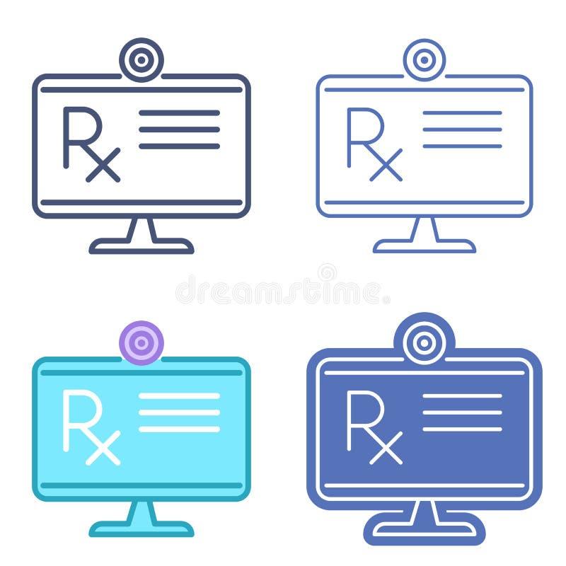 Skrivbords- bildskärm med receptsymbol Telemedicinevektorou stock illustrationer