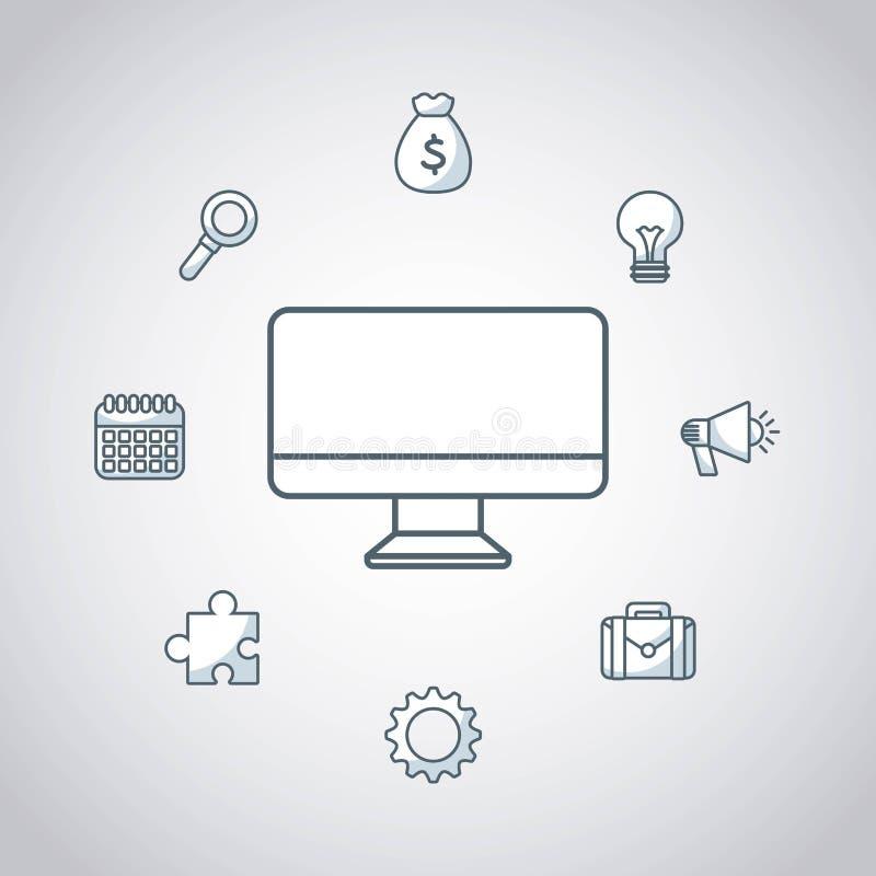 skrivbords- datatekniksymbol vektor illustrationer