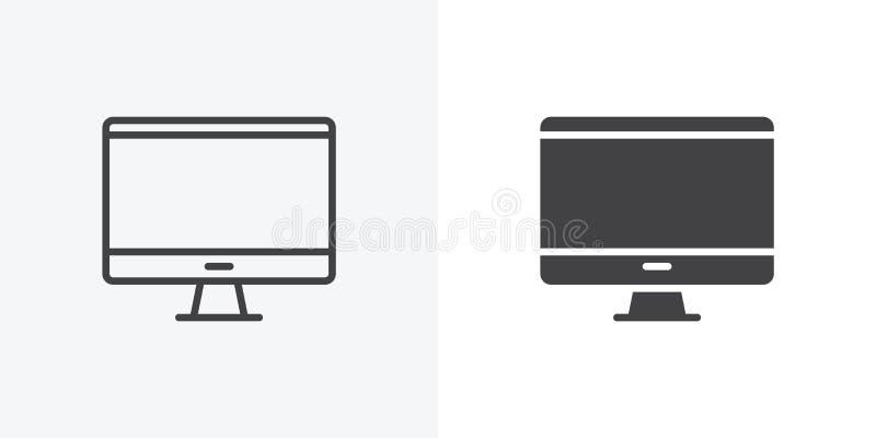 Skrivbords- dator, bildskärmsymbol vektor illustrationer
