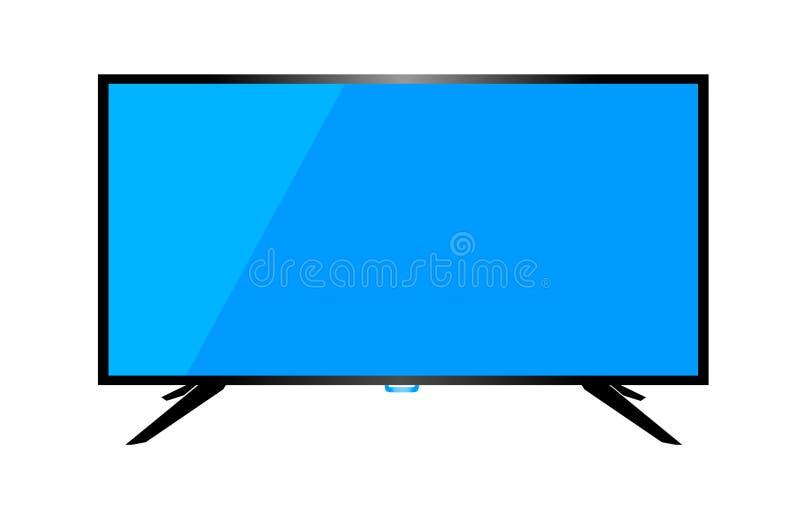 Skrivbords- dator för TV eller för bildskärm på en vit bakgrund vektor illustrationer