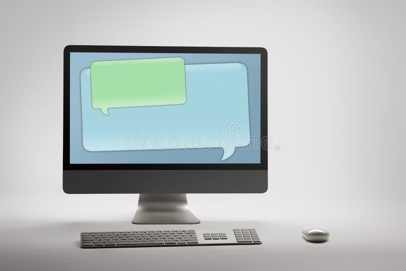 Skrivbords- dator med den tomma anförandebubblan arkivfoto