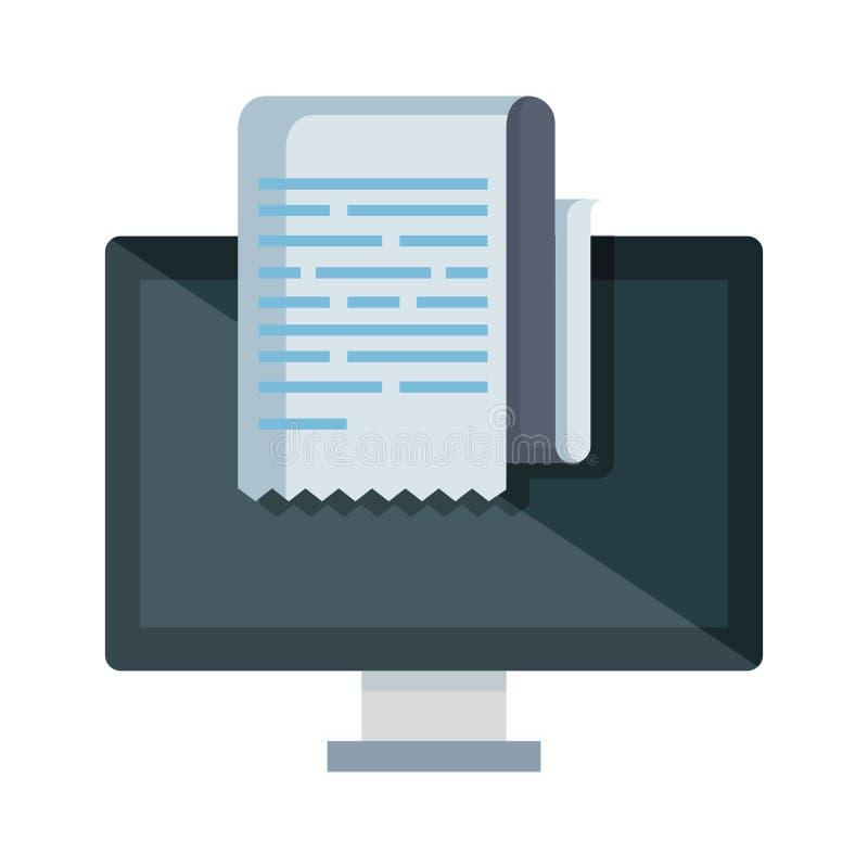 Skrivbords- dator med kvittot stock illustrationer