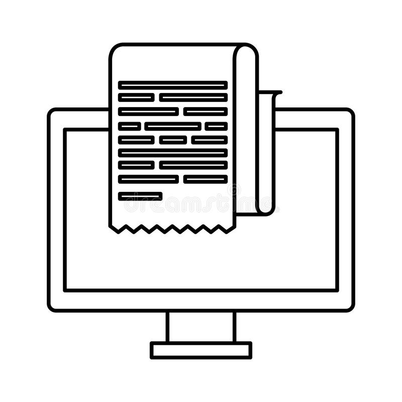 Skrivbords- dator med kvittot vektor illustrationer