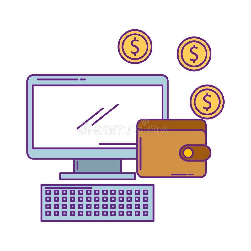 Skrivbords- dator med plånboken och mynt vektor illustrationer