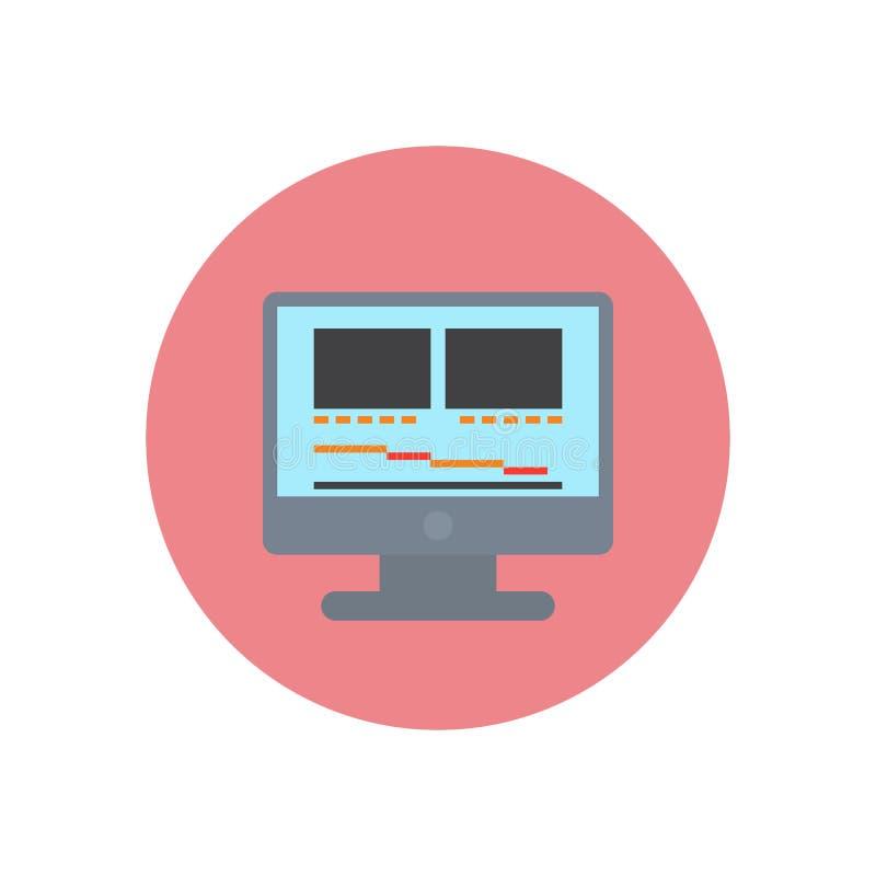 Skrivbords- dator med videoen som redigerar den plana symbolen för programvara Rund färgrik knapp, tecken för vektor för filmprod royaltyfri illustrationer