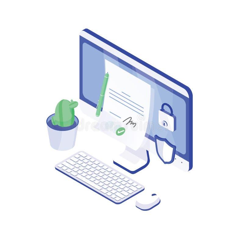 Skrivbords- dator, pappers- dokument med h royaltyfri illustrationer