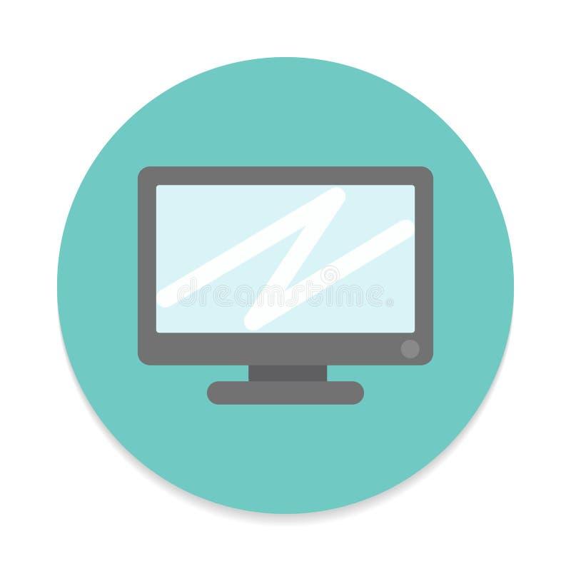 Skrivbords- dator, plan symbol för skärm Rund färgrik knapp, runt vektortecken royaltyfri illustrationer