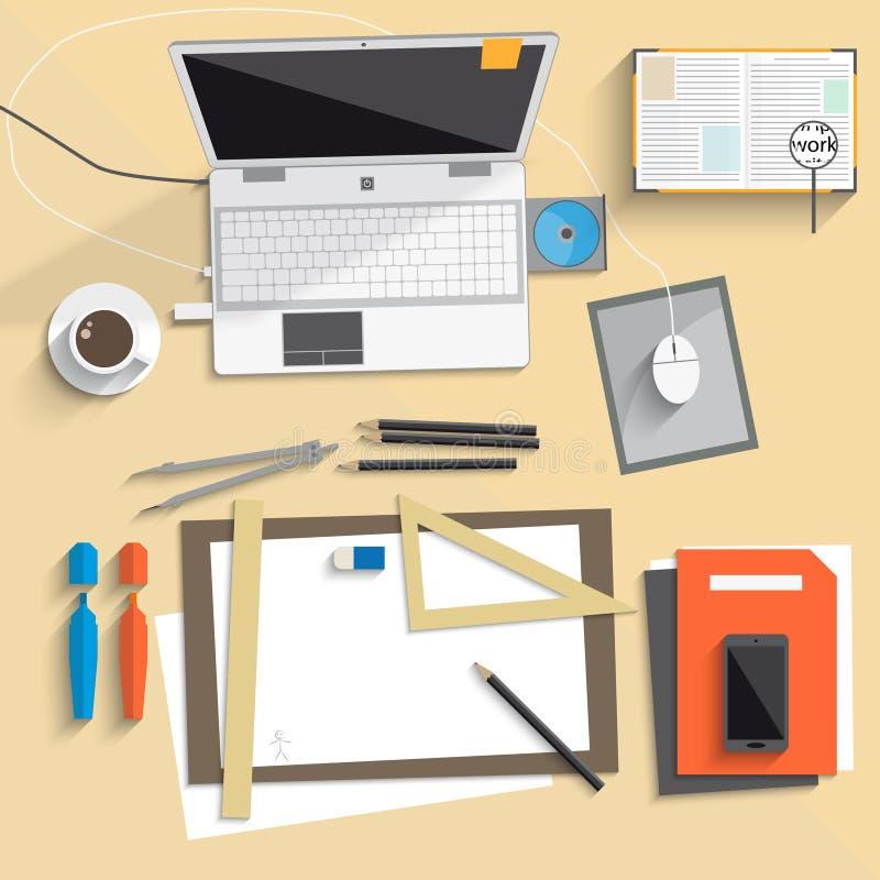 Skrivbords- lägenhet för anteckningsbokkonstbräde stock illustrationer