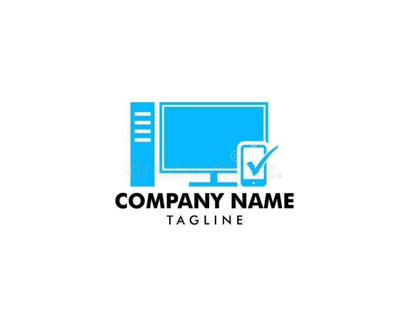 Skrivbords- Logo Template Design Vector royaltyfri illustrationer