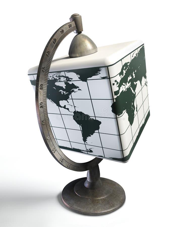 Skrivbords- metalljordklot för kub royaltyfri illustrationer