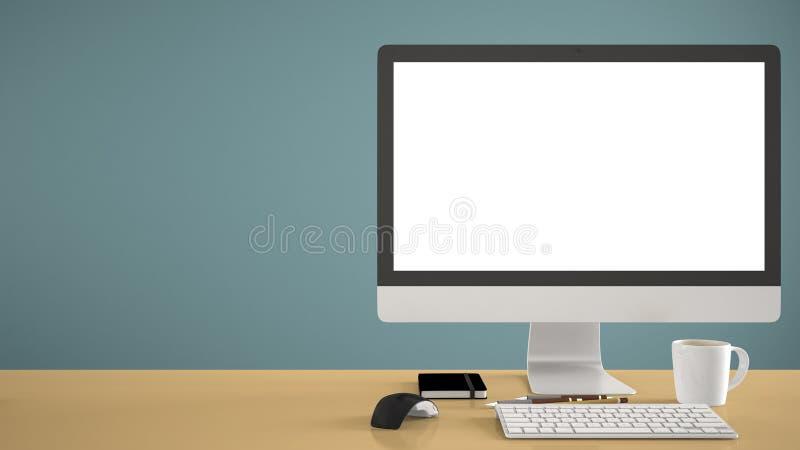 Skrivbords- modell, mall, dator på det gula arbetsskrivbordet med den tomma skärmen, tangentbordmus och notepad med pennor och bl royaltyfri foto