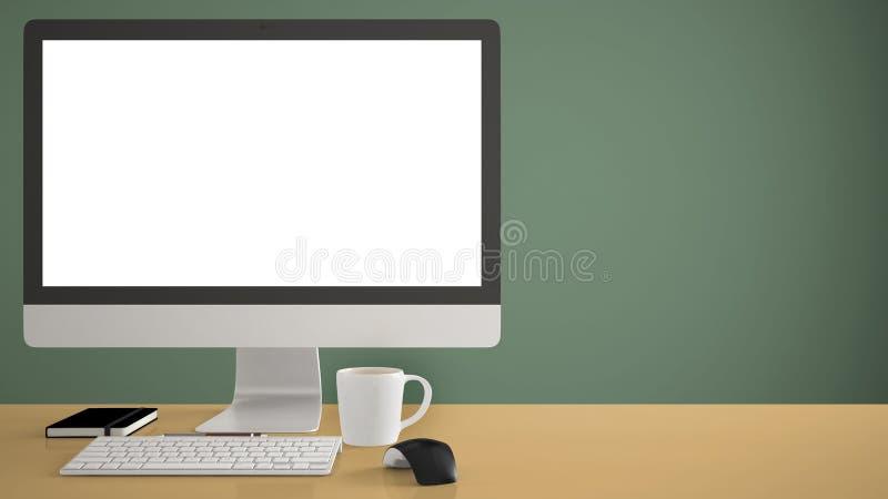 Skrivbords- modell, mall, dator på det gula arbetsskrivbordet med den tomma skärmen, tangentbordmus och notepad med pennor och bl royaltyfri fotografi