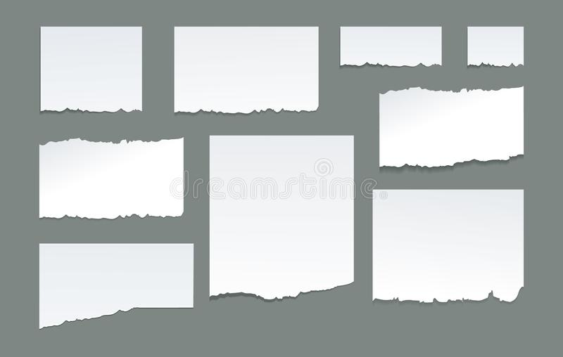 Skrivbords- pappers- remsor för anteckningsbok, pappers- sönderrivna kanter royaltyfri illustrationer