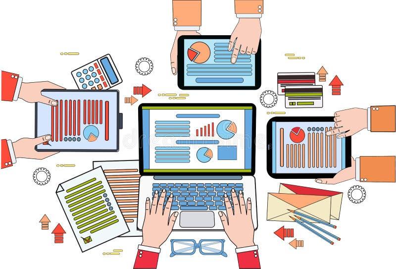 Skrivbords- sikt för affär, arbetsprocess med diagram och dokument, Businesspeoplehänder som rymmer Digital minnestavlor och vektor illustrationer