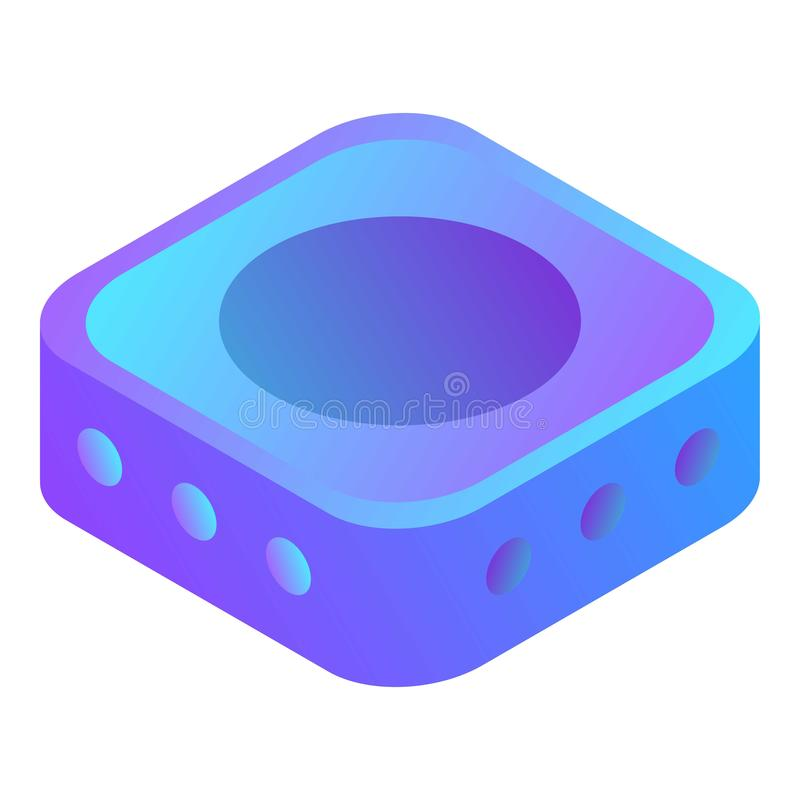 Skrivbords- symbol för mini- dator, isometrisk stil vektor illustrationer