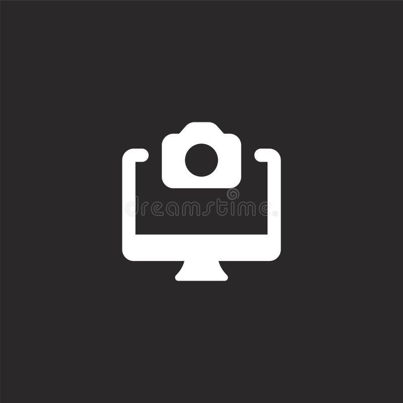 Skrivbords- symbol Fylld skrivbords- symbol för websitedesignen och mobilen, apputveckling skrivbords- symbol från fylld fotosaml vektor illustrationer
