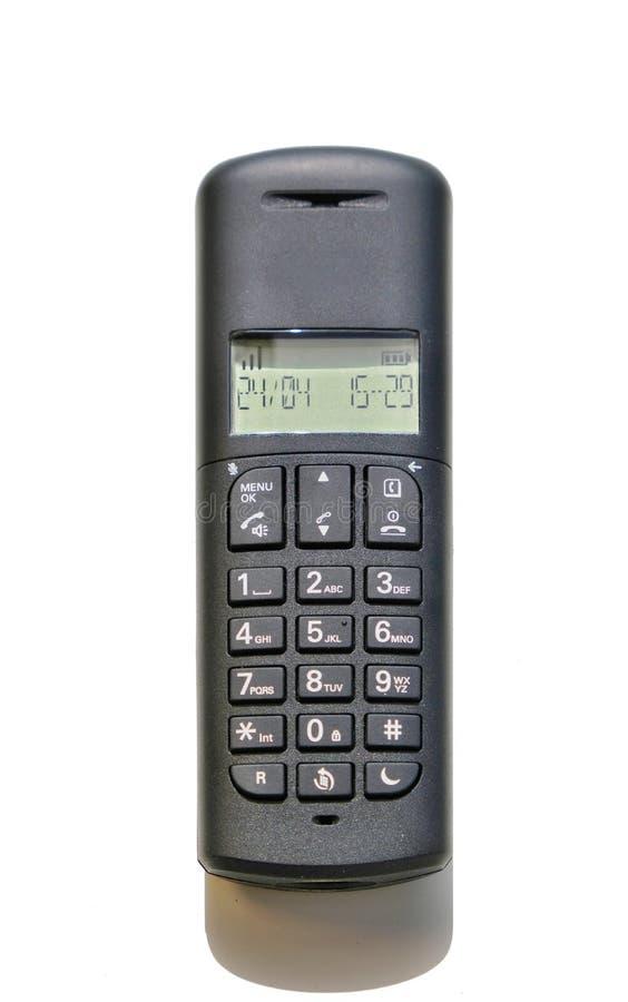 Skrivbords- telefon för vanligt kontor som isoleras på en vit bakgrund arkivfoton