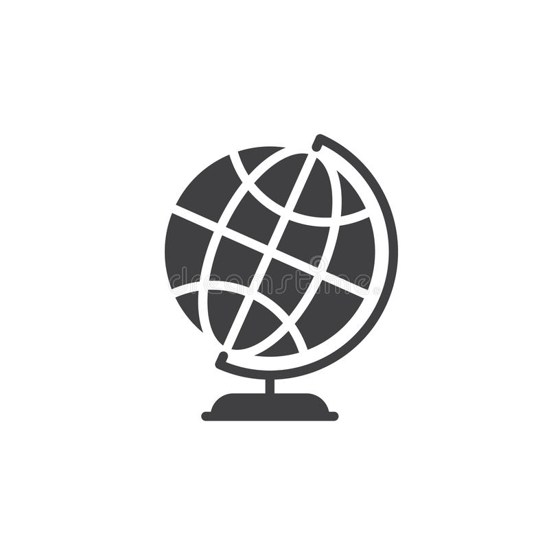 Skrivbords- vektor för symbol för världsjordjordklot, fyllt plant tecken, fast pictogram som isoleras på vit royaltyfri illustrationer