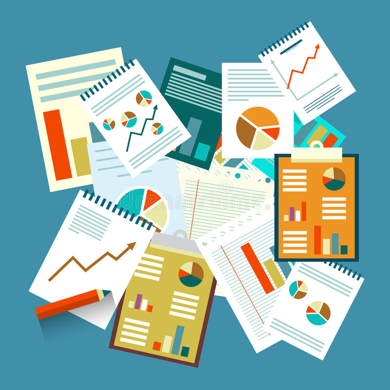 skrivbordsarbete För vektorlägenhet för bästa sikt legitimationshandlingar för design royaltyfri illustrationer