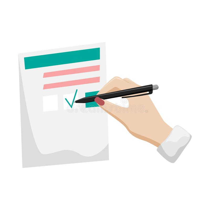 Skrivbordsarbete självdeklaration, frågeformulär En kvinnas hand med en röd manikyr undertecknar dokumentet vektor illustrationer