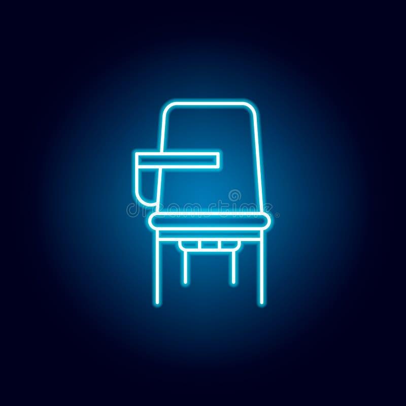 skrivbordstol, studentöversiktssymbol i neonstil beståndsdelar av utbildningsillustrationlinjen symbol tecknet symboler kan använ stock illustrationer
