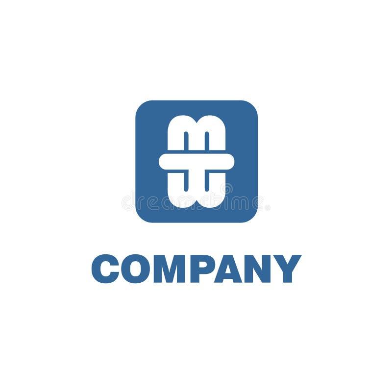 Skrivelse för TWM eller MTW Alphabet Company Logo Design Template, Ursprungligt Logo Concept. stock illustrationer