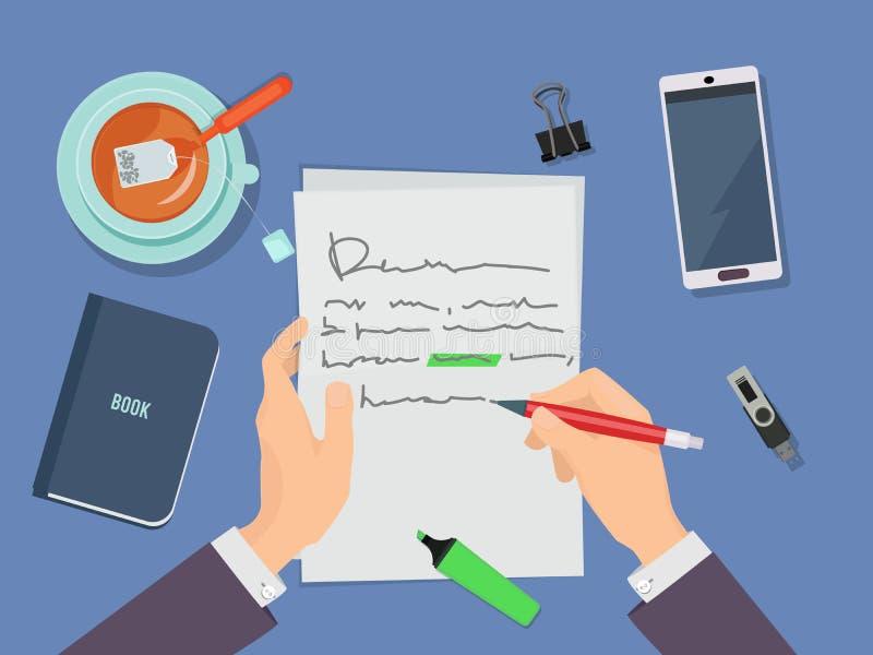 Skrivelse Författare som håller penna och skriver dikt på pappersvektorkonceptet vektor illustrationer
