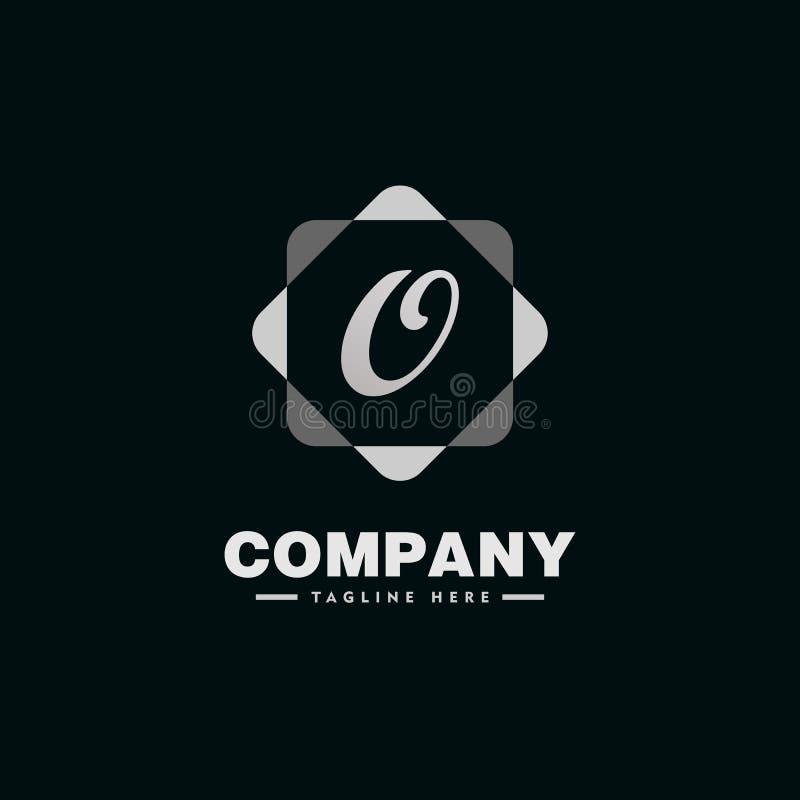 Skrivelse O Alphabet Company Logo Design Template med Geometric Rounds Square-element stock illustrationer