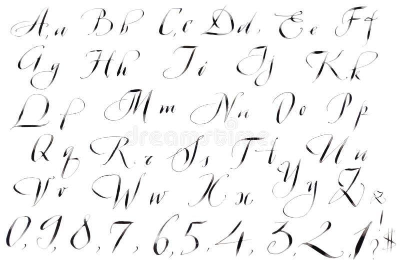 skriven alfabetcalligraphyhand royaltyfri illustrationer
