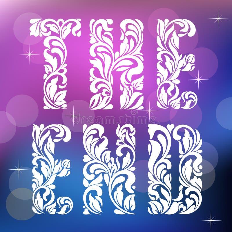 skriven gammal paper skrivmaskin för slut Dekorativ stilsort som göras i virvlar och blom- beståndsdelar royaltyfri illustrationer