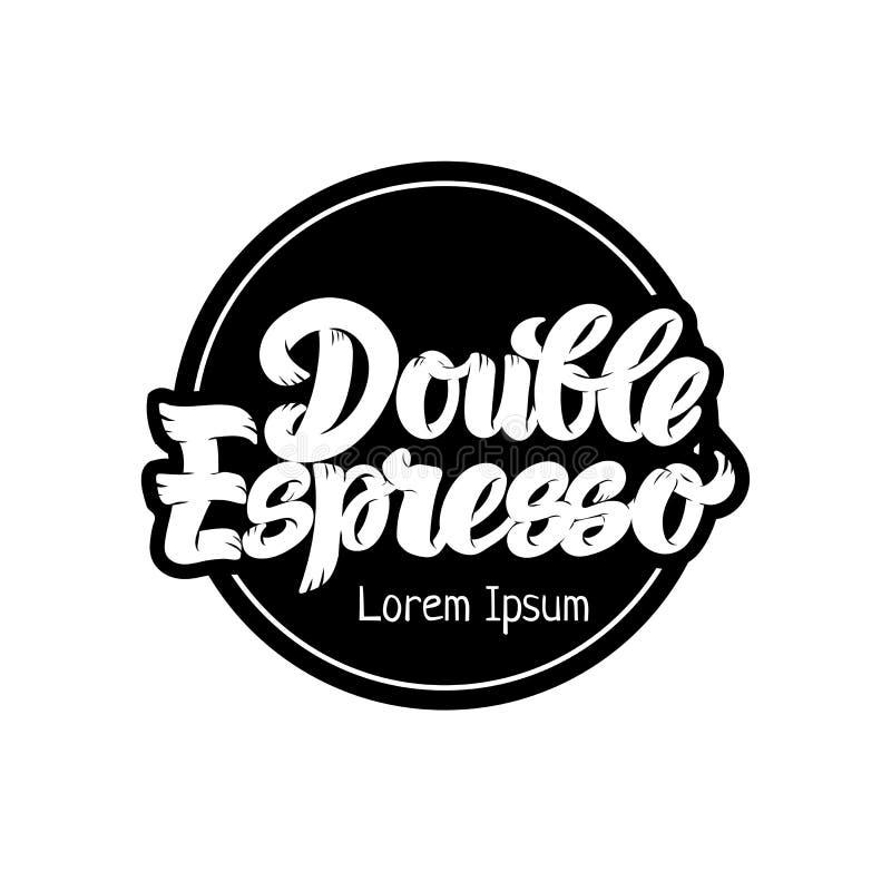 Skriver den dubbla dragen bokstäver för espressokaffe handen, moderna grafitti för affischen, banret, logoen, symbolen, menyn för stock illustrationer