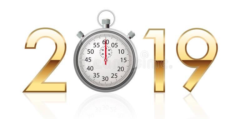 2019 skriver i guld- tal med en kronometer i stället för noll royaltyfri illustrationer