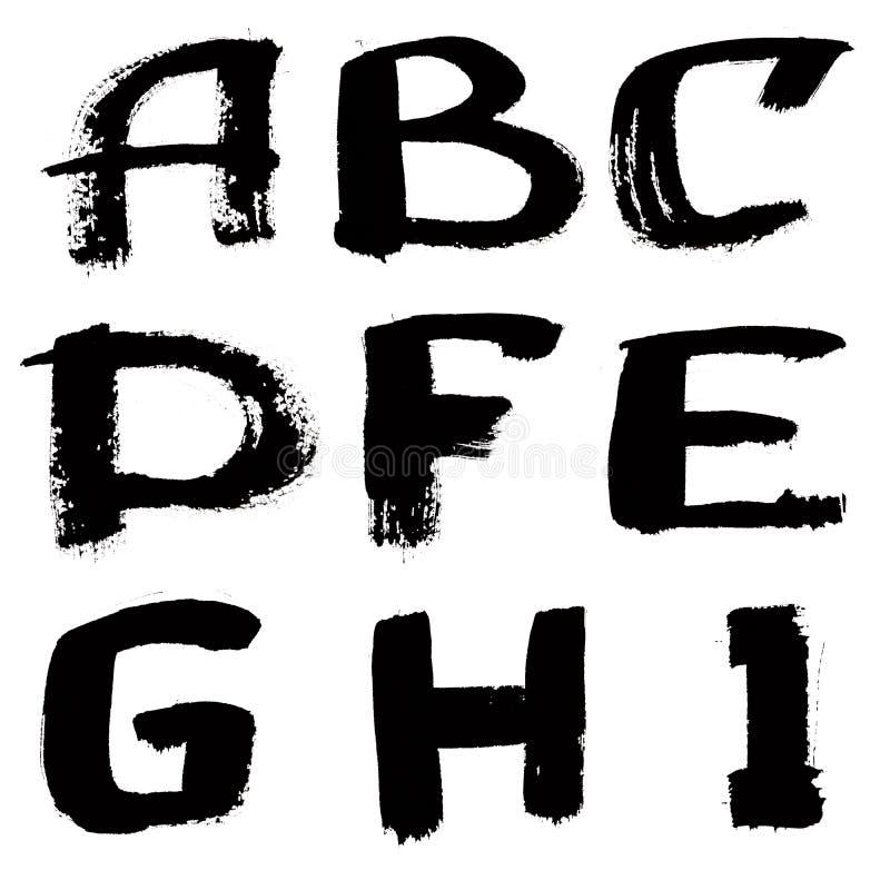 skrivet färgpulver för svart hand för alfabet vektor illustrationer