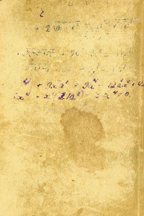 skrivet gammalt papper för formler stock illustrationer