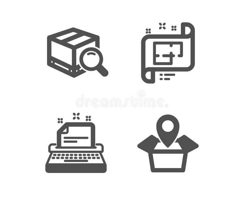 Skrivmaskin, arkitektoniskt plan och sökandepackesymboler Packel?getecken vektor stock illustrationer
