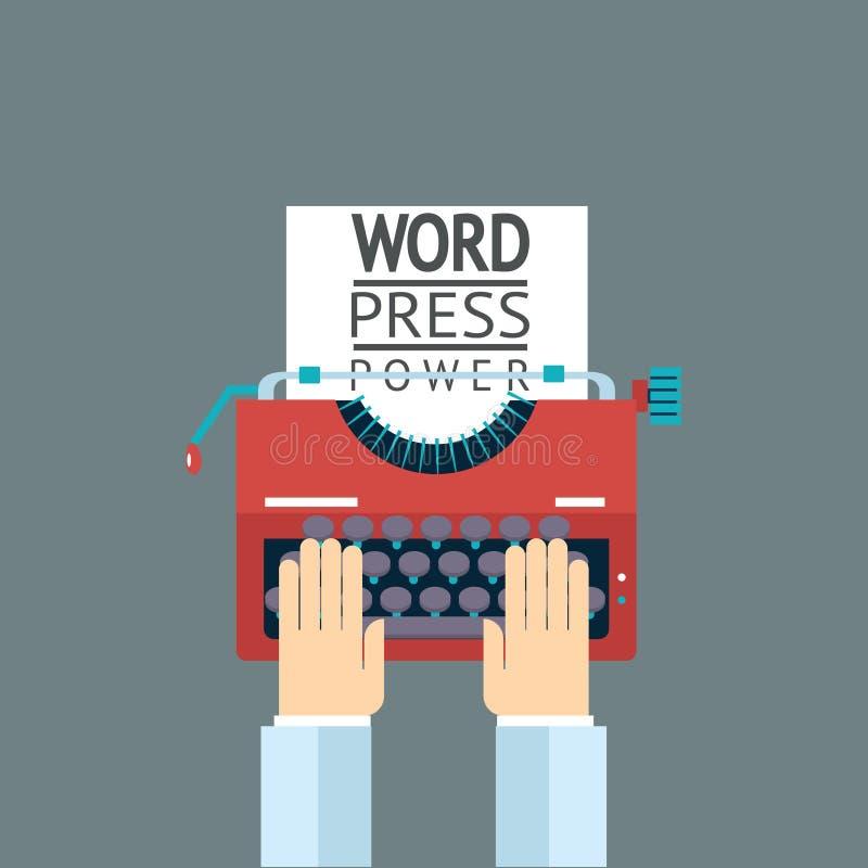 Skrivmaskin för hand för press för symbol för ordmaktmassmedia stock illustrationer