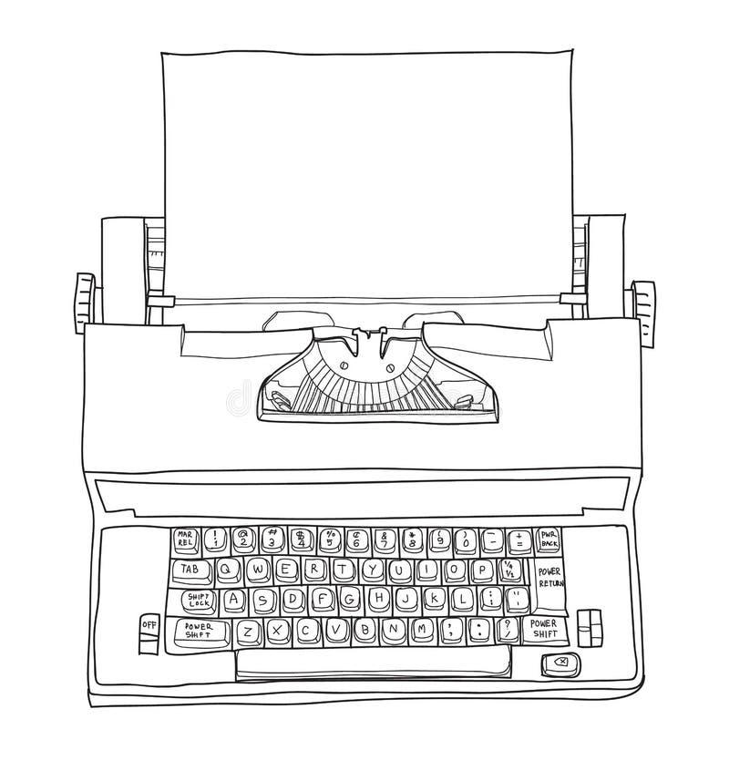 Skrivmaskin för Royal Academy för elektrisk skrivmaskin för tappning med den utdragna gulliga linjen konstvektorillustration för  royaltyfri illustrationer