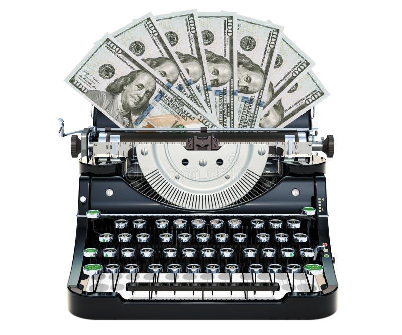 Skrivmaskinen som skrivar ut dollar, gör pengarbegrepp framförande 3d vektor illustrationer
