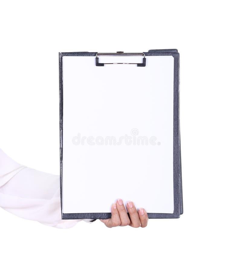 Skrivplatta för mellanrum för innehav för hand för affärskvinna arkivbilder