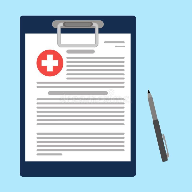 Skrivplatta med den läkarundersökningkorset och pennan Kliniskt rekord, recept, reklamation, medicinsk rapport, sjukförsäkringbeg stock illustrationer