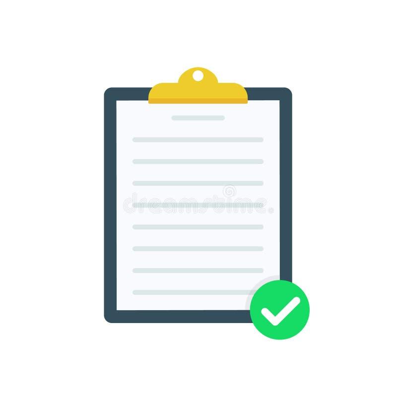 Skrivplatta med gröna fästingcheckmarks Kontrollista färdiga uppgifter, bråklista, granskning, examenbegrepp högvärdig kvalitet royaltyfri illustrationer