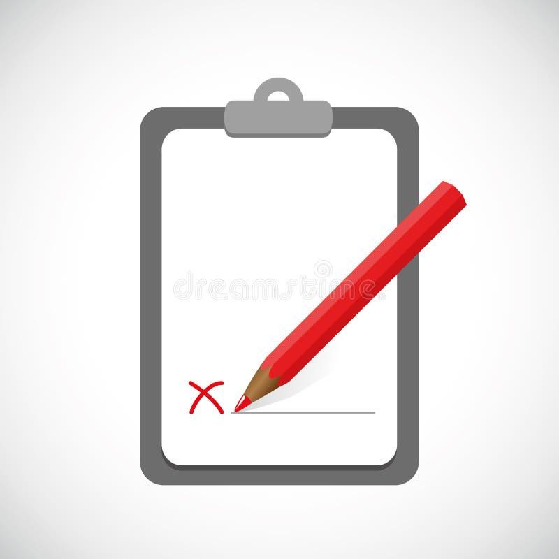 Skrivplatta med röd pennaffärsdesign stock illustrationer
