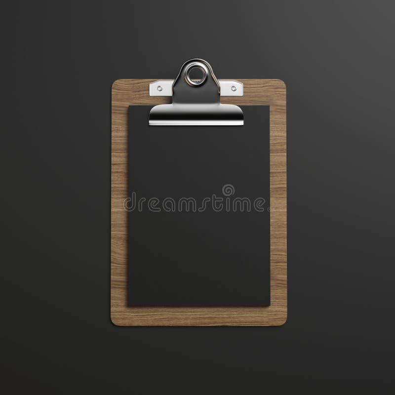 Skrivplatta med svartpapper på mörk bakgrund vektor illustrationer