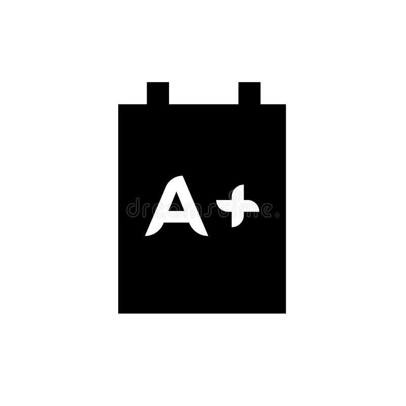 Skrivplatta med tecknet och symbol för A+-symbolsvektor som isoleras på vit bakgrund, skrivplatta med A+-logobegrepp stock illustrationer
