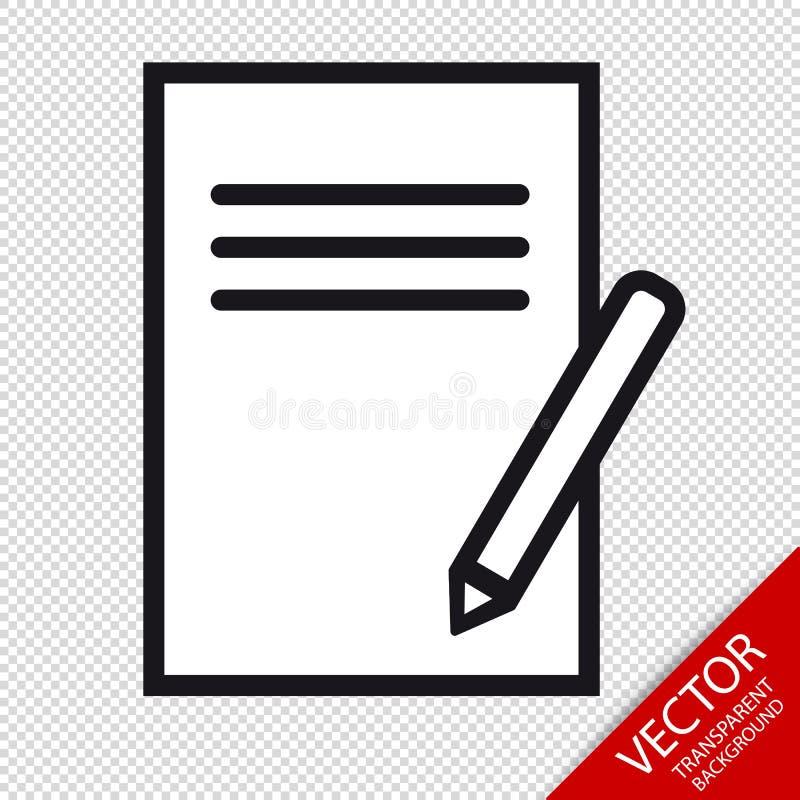 Skrivplatta- och blyertspennasymboler - redigerbar vektorillustration - som isoleras på genomskinlig bakgrund vektor illustrationer
