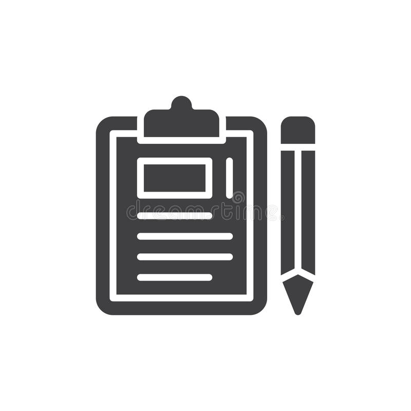 Skrivplatta- och blyertspennasymbolsvektor, fyllt plant tecken, fast pictogram som isoleras på vit royaltyfri illustrationer