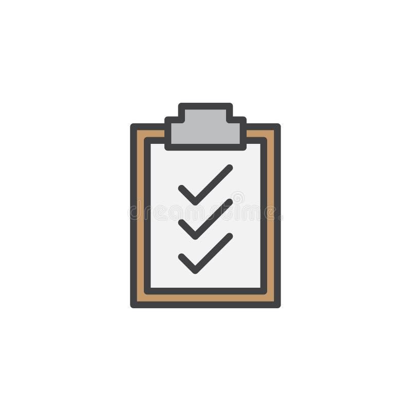 Skrivplattakontrollfläckar fodrar symbolen, det fyllda översiktsvektortecknet, den linjära färgrika pictogramen som isoleras på v stock illustrationer