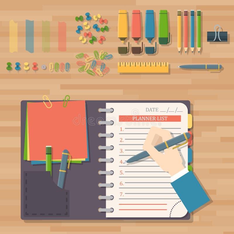 Skrivplattan för papper för affären för dagordninglistavektorn i självhäftande kontrollista för plan stil noterar schemakalenders royaltyfri illustrationer