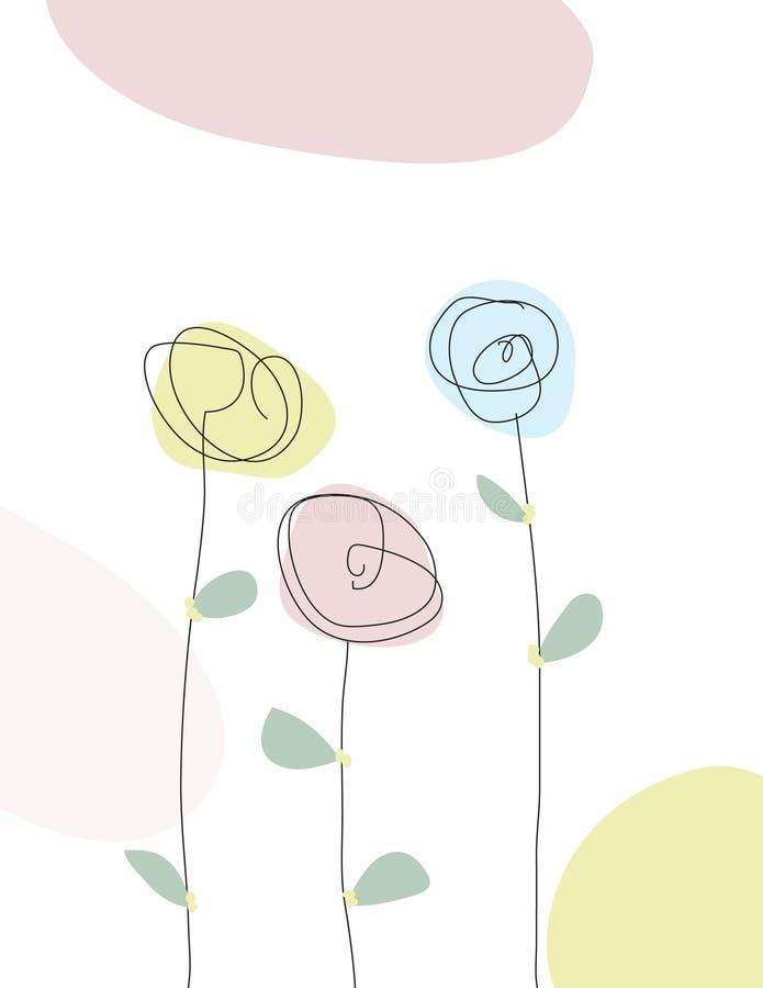Skrobanina kreskowy rysunek wiosna kwiaty royalty ilustracja