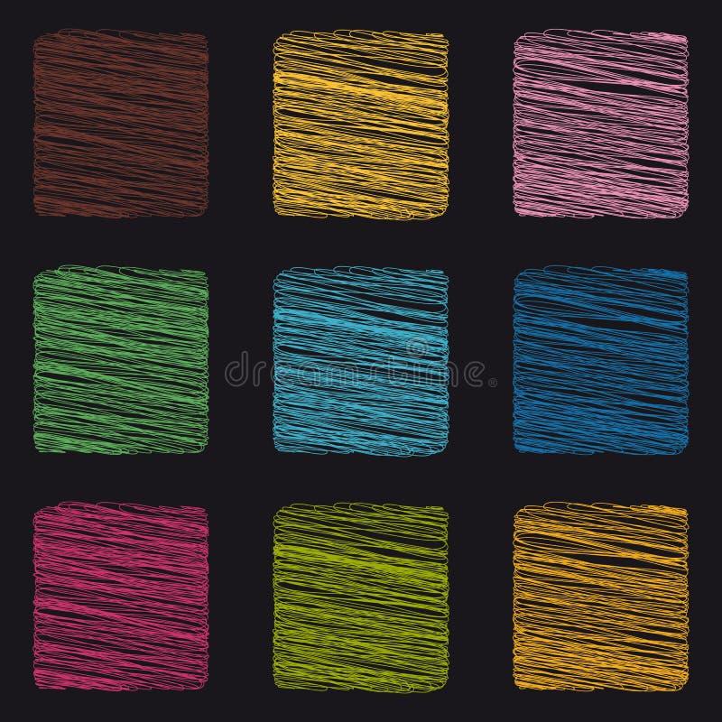 Skrobanina kwadrata guziki Odizolowywający Na Czarnym tle - Kolorowe Wektorowe ikony - royalty ilustracja